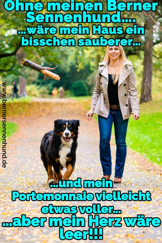 Eine Frau und ihre Berner Sennenhund laufen