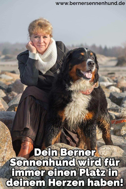 Eine Frau und ihre Berner Sennenhund sitzten auf Stein